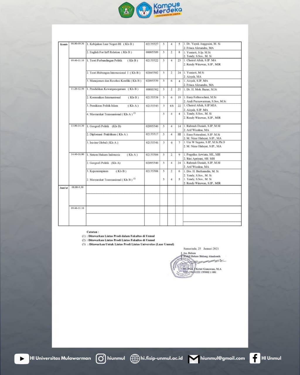 Jadwal Perkuliahan Semester Genap 2020/2021